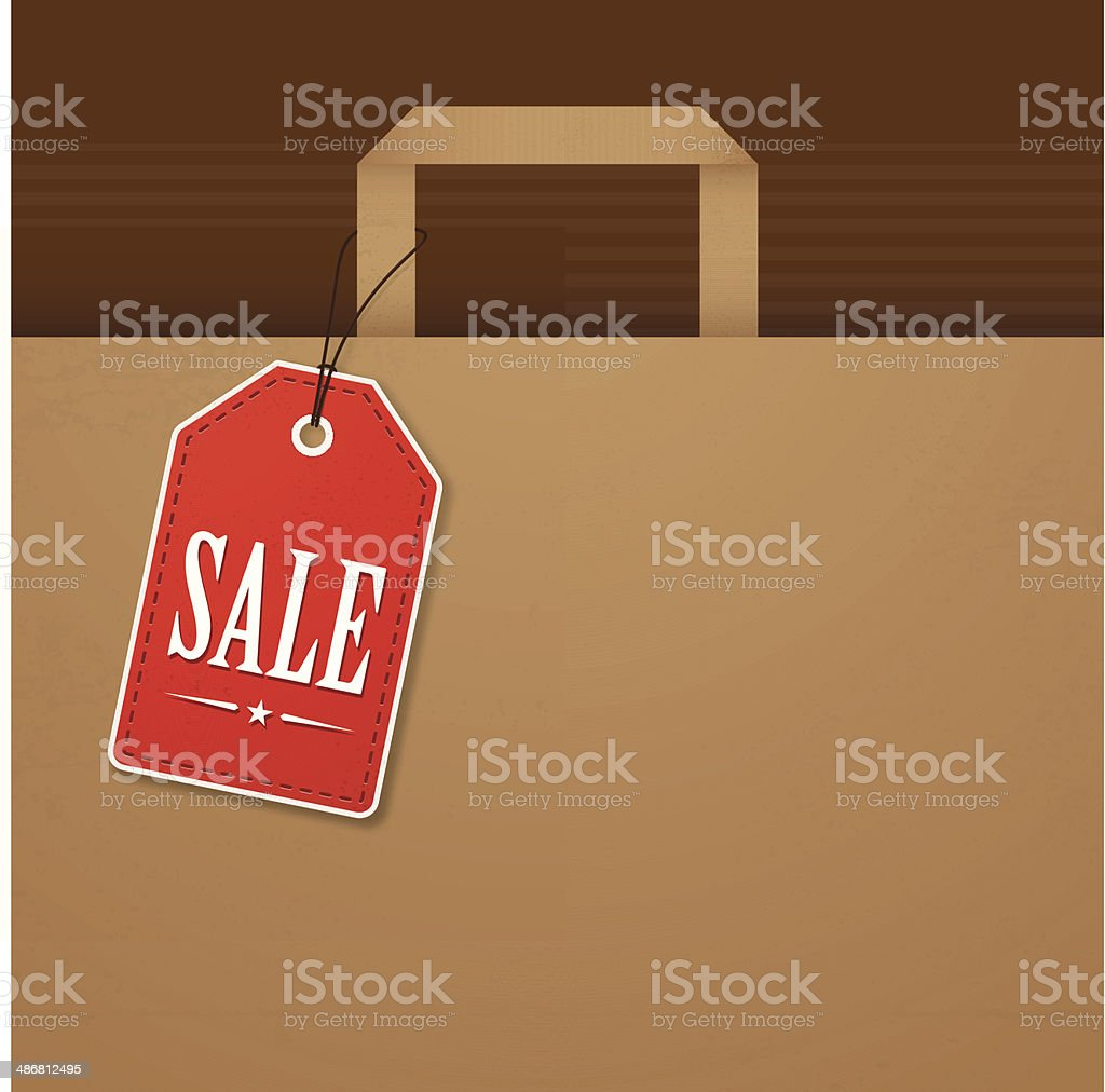 Brown paper bag with red sale tag vector art illustration