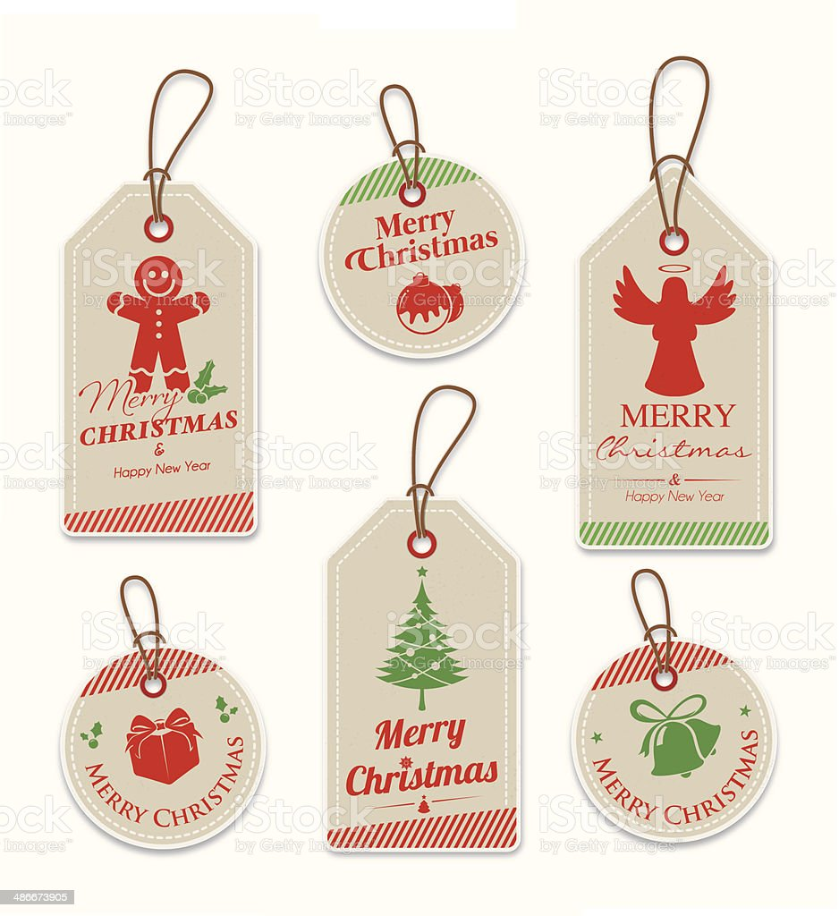 Brown paper christmas tags vector art illustration
