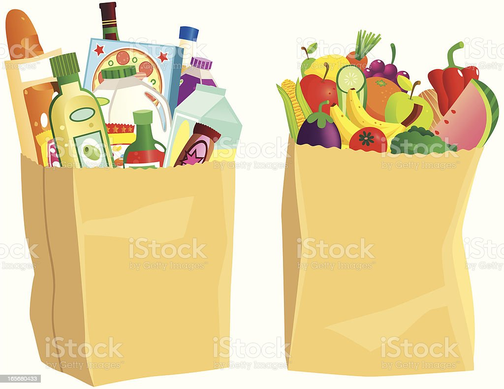 Brown paper grocery shopping bags vector art illustration