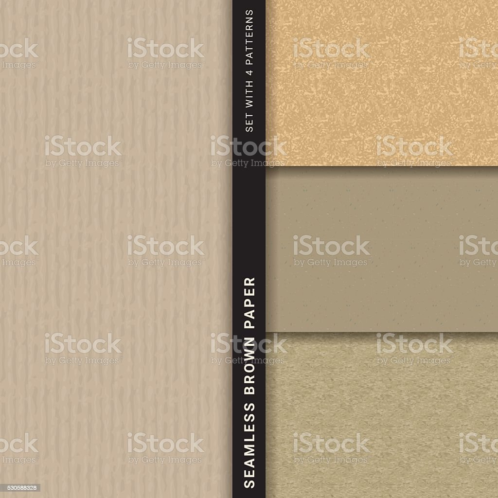Brown paper (Set with 4 seamless patterns) vector art illustration