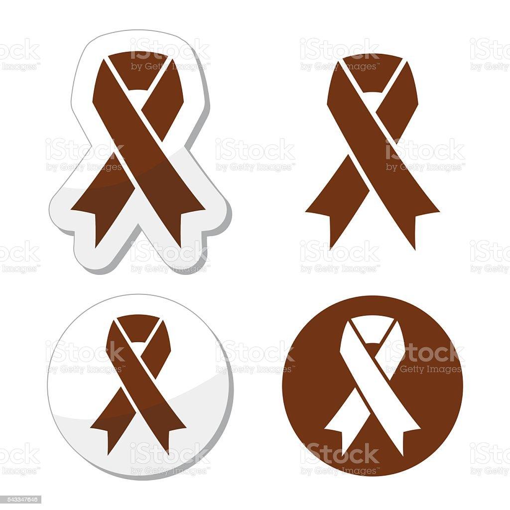 Brown ribbon anti-tobacco symbol, awareness of colon cancer, colorectal cancer vector art illustration