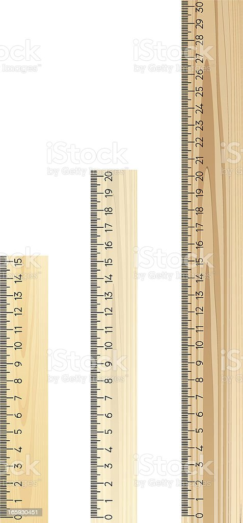 3 brown rulers of different lengths on a white background vector art illustration