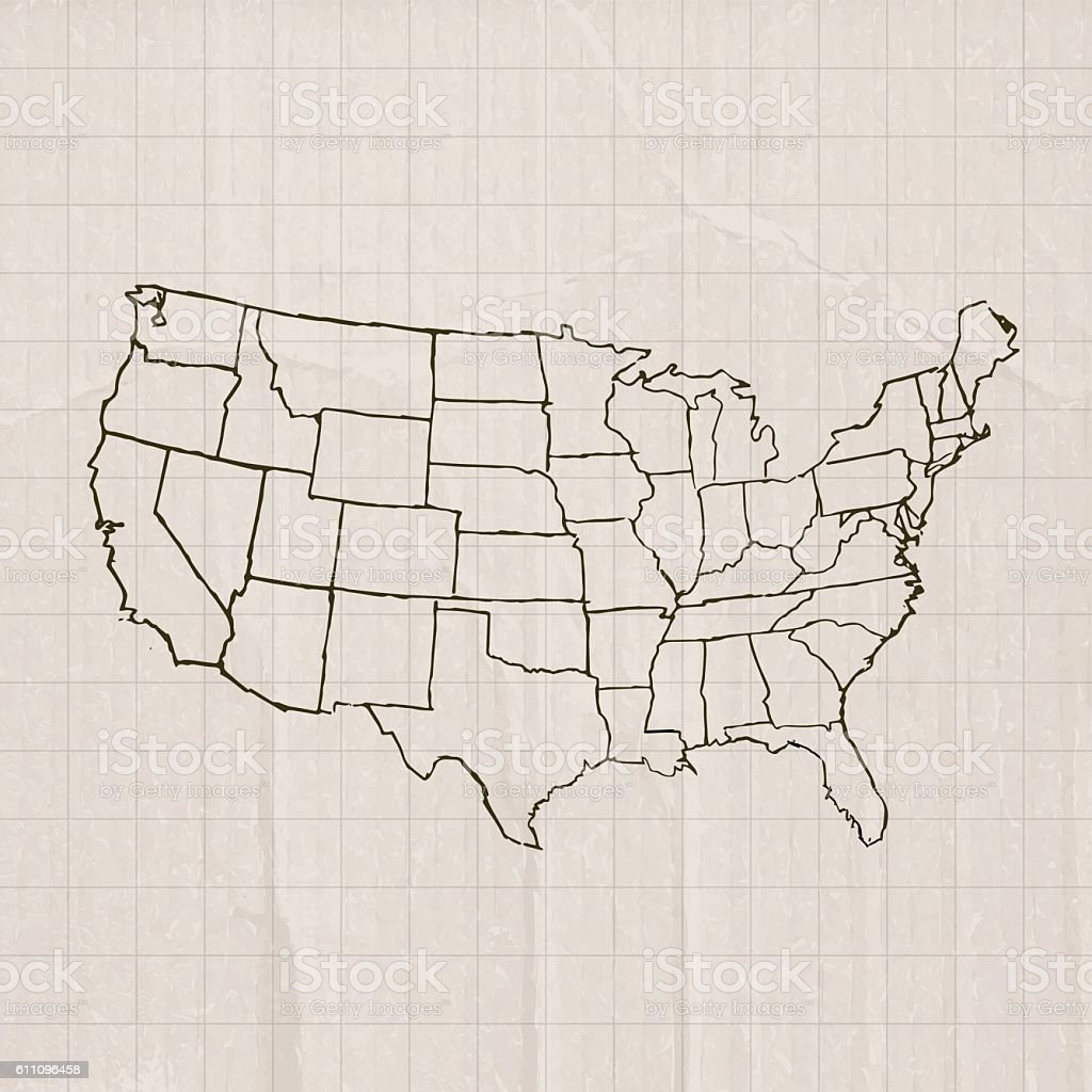 USA brown scribble map on cardboard vector art illustration