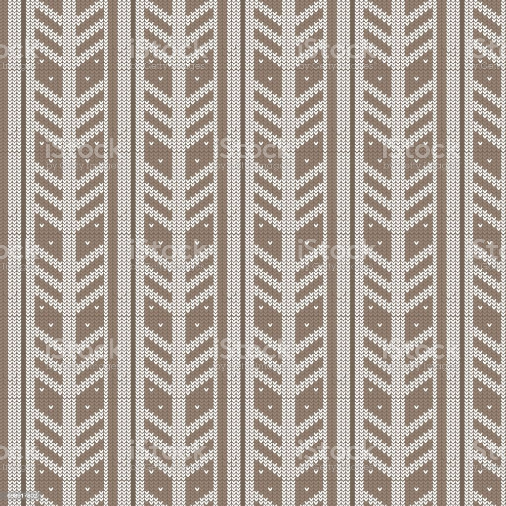 brown shade and white feather shape vertical striped with spot knitting pattern background vector art illustration