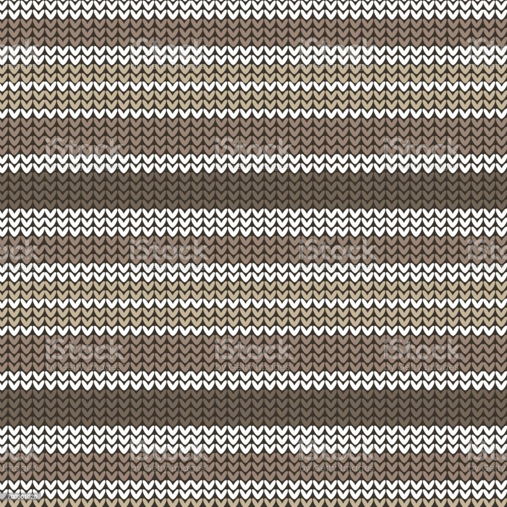 brown shade and white striped knitting pattern background vector art illustration