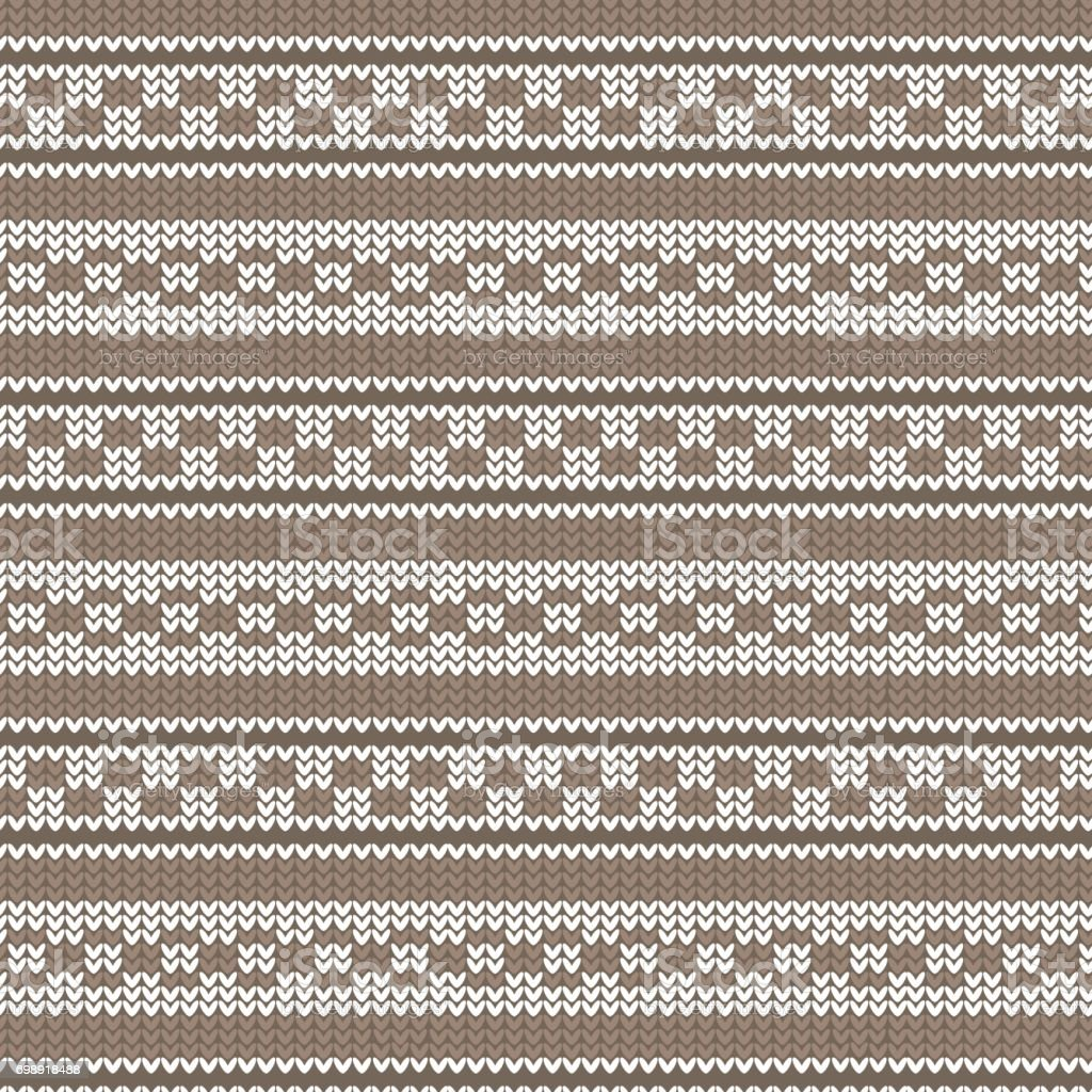 brown shade and white striped with circle loop and brick shape striped knitting pattern background vector art illustration