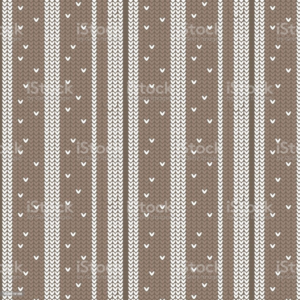 brown shade and white vertical striped with spot knitting pattern background vector art illustration