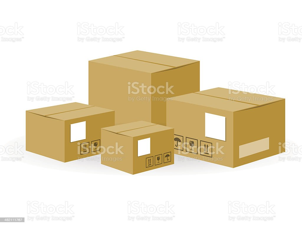 Brown Shipping Boxes royalty-free stock vector art