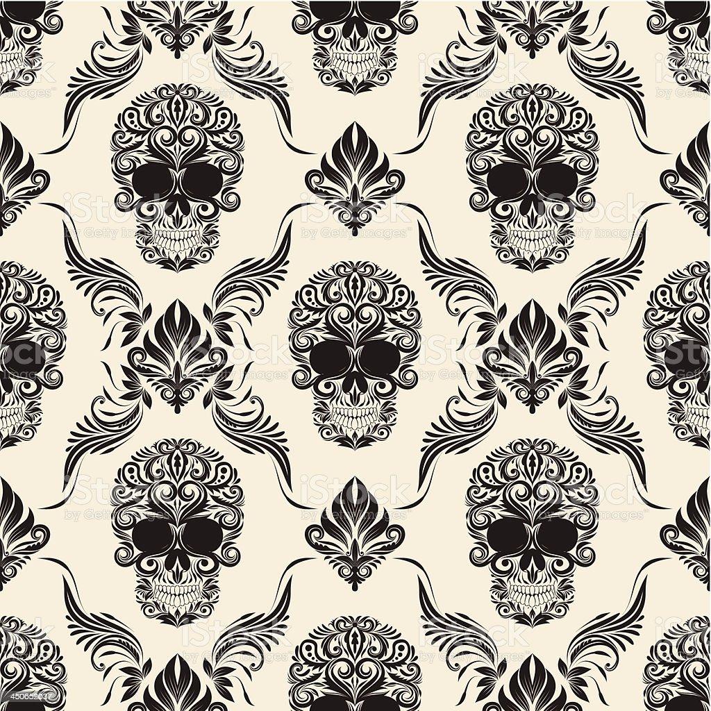 Brown Skull Pattern vector art illustration