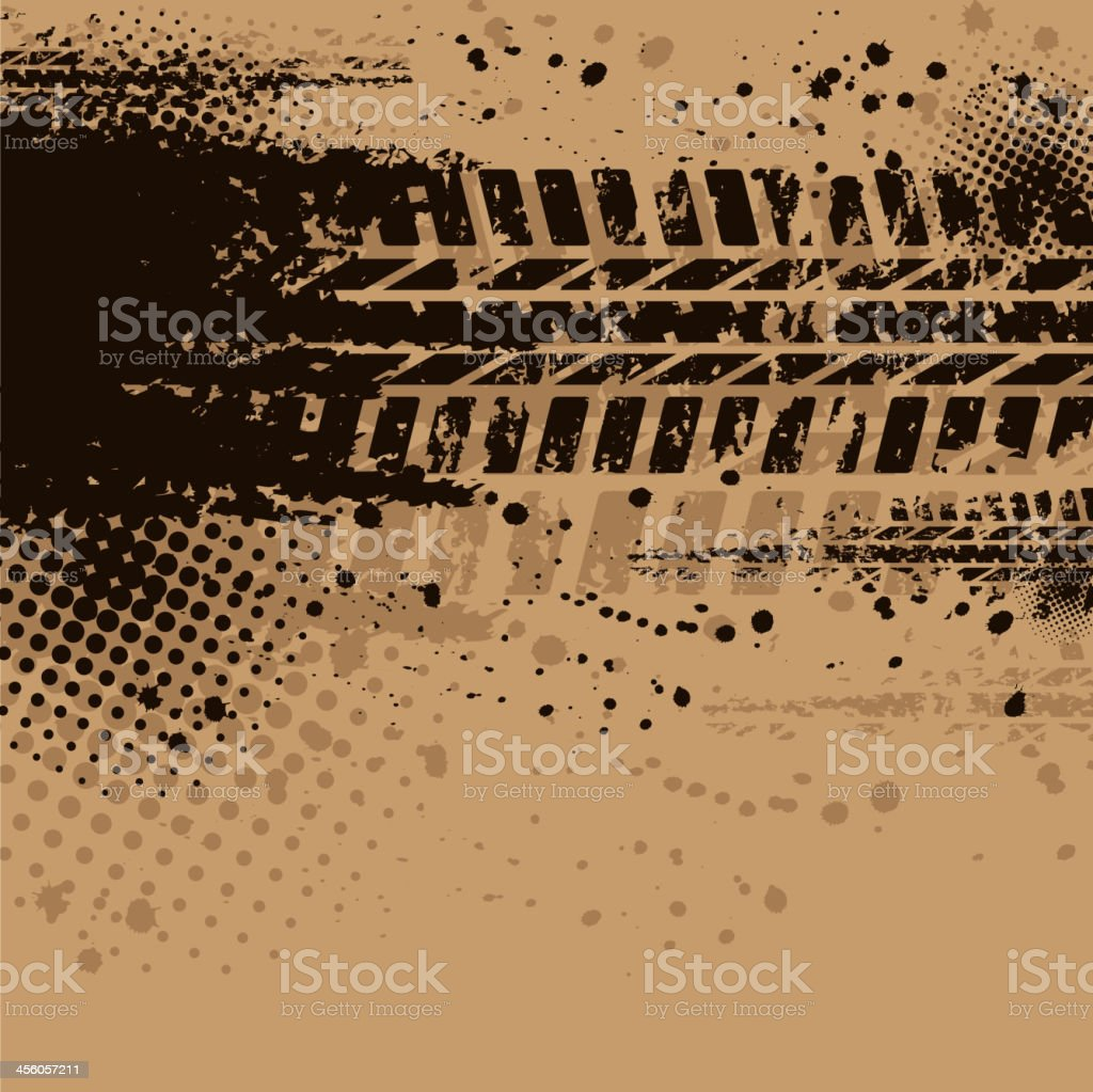Brown tire track background royalty-free stock vector art