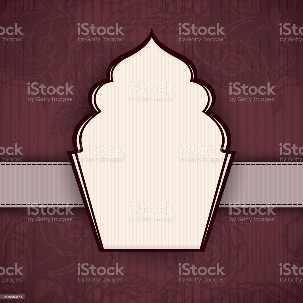 Brown vintage background with a cake shaped frame and roses vector art illustration