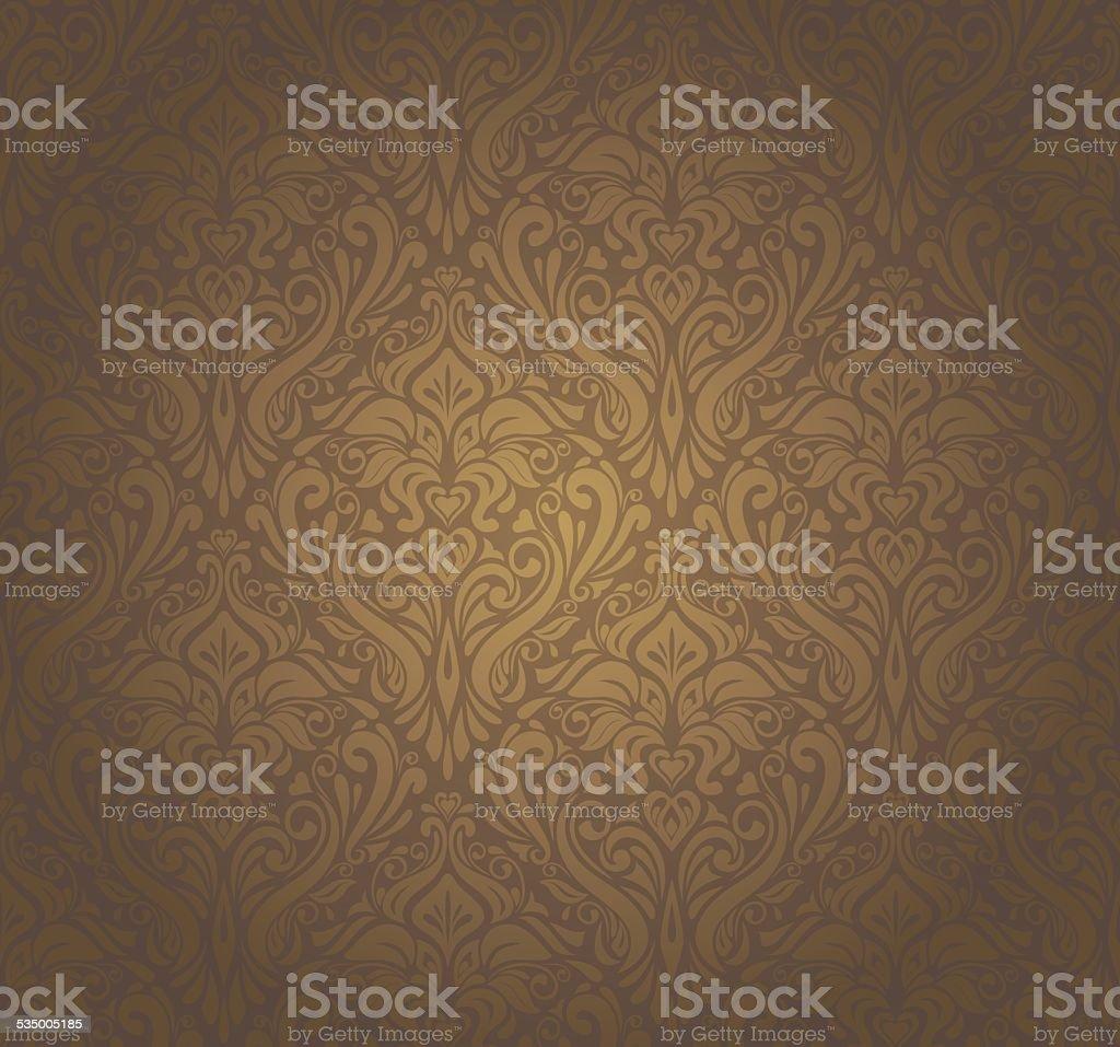 Brown vintage wallpaper design vector art illustration