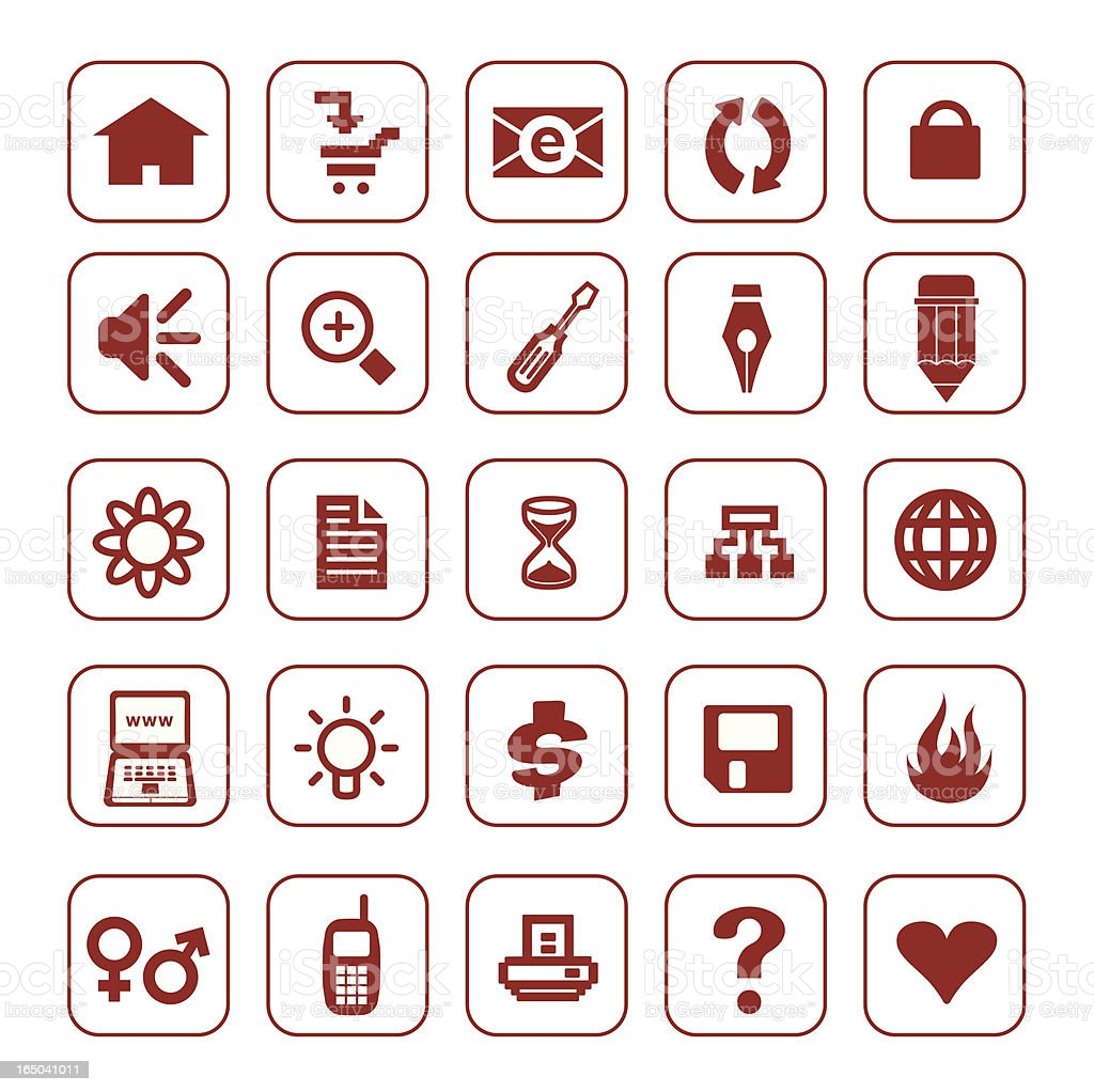 Brown Web Icon Set royalty-free stock vector art