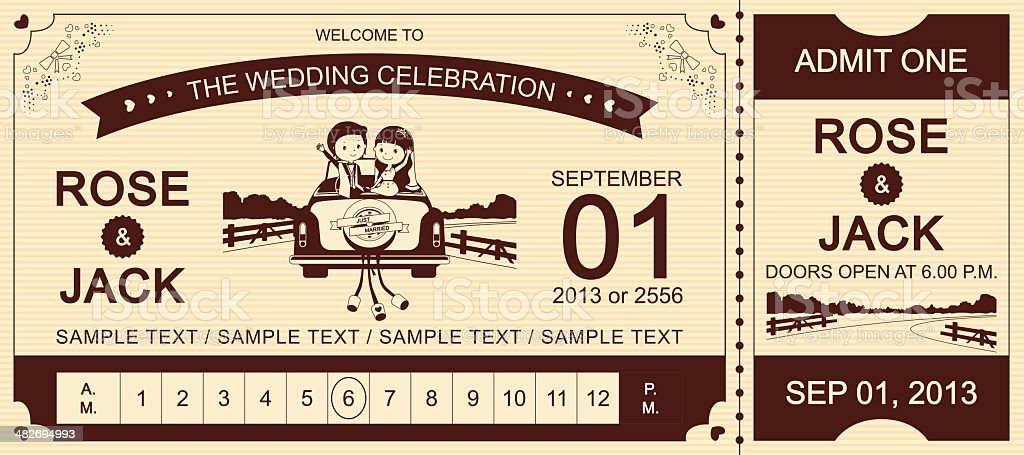 Brown Wedding Car Ticket Invitation royalty-free stock vector art