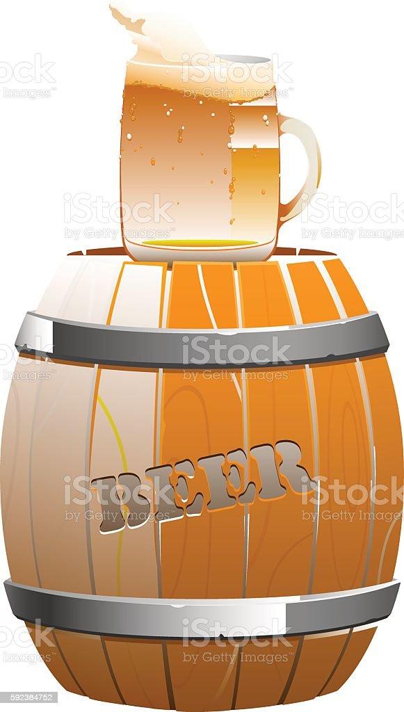 brown wooden barrel and beer mug vector art illustration