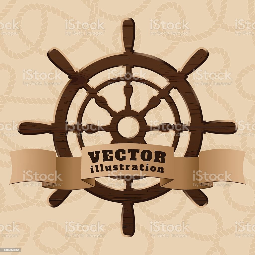 Brown wooden realistic helm with ribbon on curled rope backgroun vector art illustration
