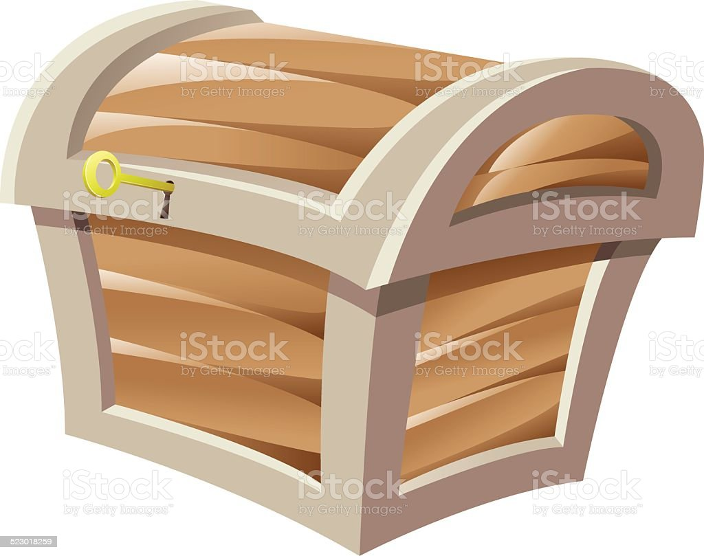 Malle au trésor en bois brun stock vecteur libres de droits libre de droits