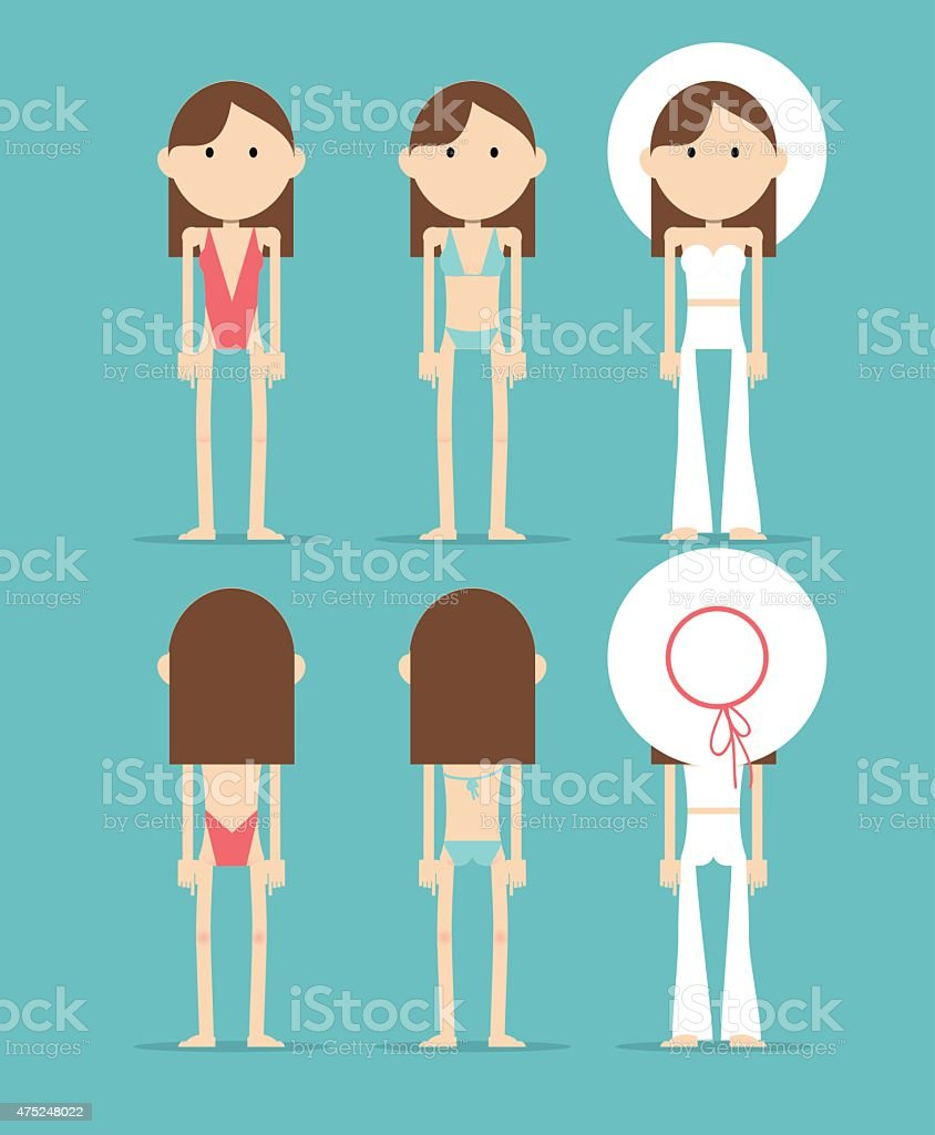 Brunette Caucasian girl in a three summer outfits vector art illustration