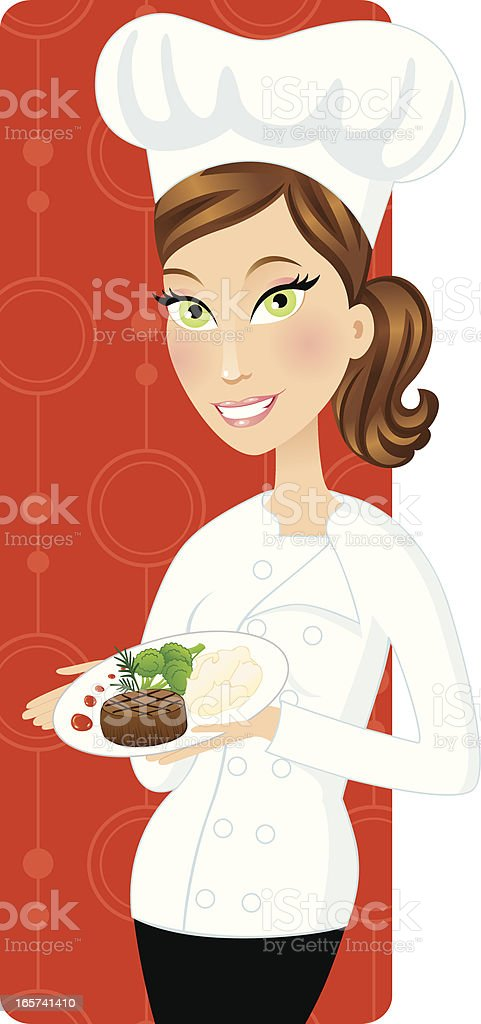 Brunette chef holding gourmet meal vector art illustration