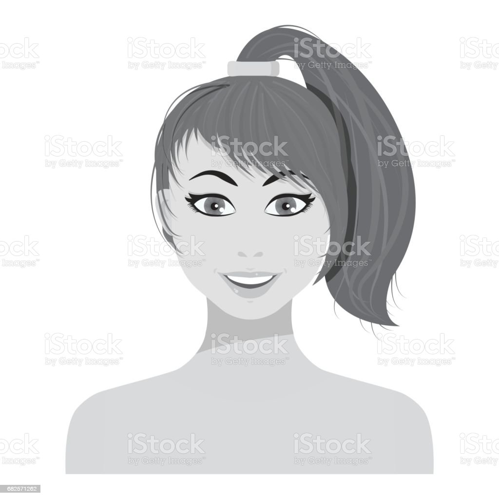 Brunette icon in monochrome style isolated on white background. Woman symbol stock vector illustration. vector art illustration