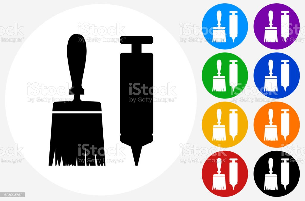 Brush and Glue Gun Icon on Flat Color Circle Buttons vector art illustration