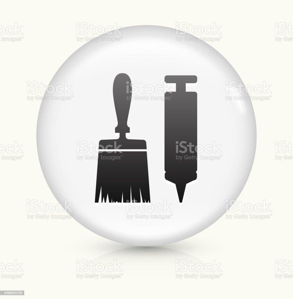 Brush and Glue Gun icon on white round vector button vector art illustration
