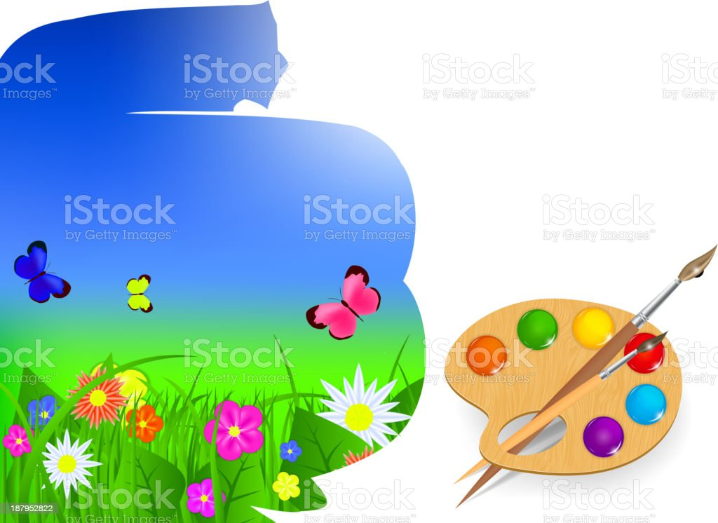 brush and sky paint vector illustration royalty-free stock vector art