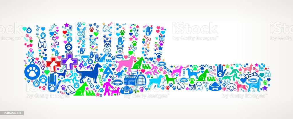 Brush Dog and Canine Pet Colorful Icon Pattern vector art illustration