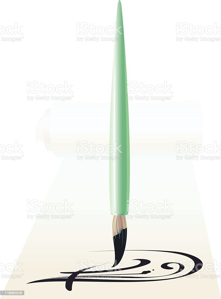 Brush for a calligraphy royalty-free stock vector art