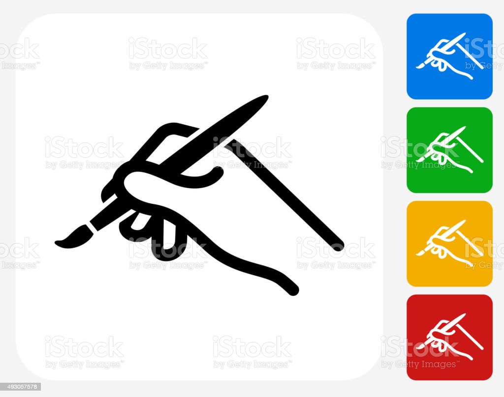 Brush Icon Flat Graphic Design vector art illustration