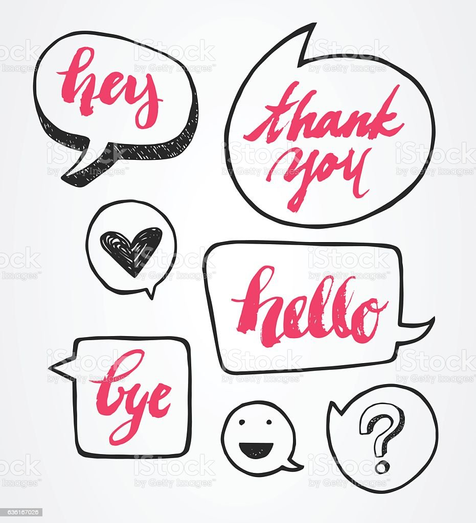 Brush Lettering with Speech Bubble Set vector art illustration