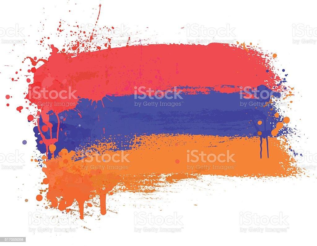 Brush painted abstract flag of Armenia vector art illustration