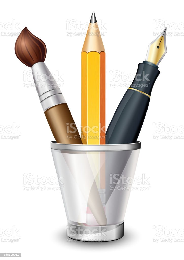 Brush, Pencil and Fountain Pen in the Holder vector art illustration