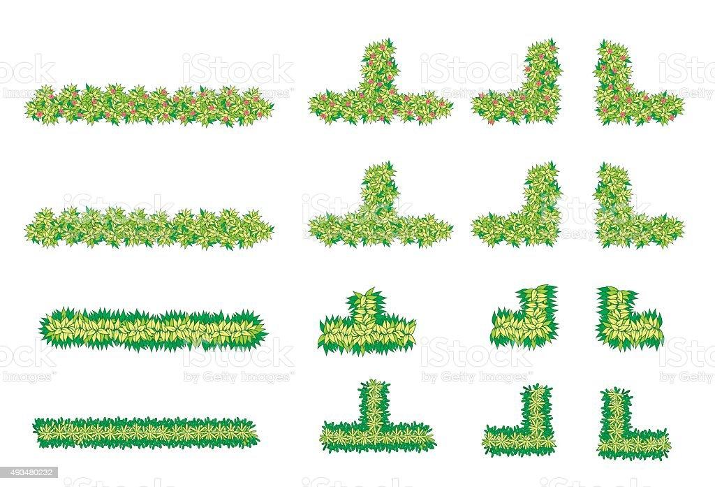 Brush, plant , flower item top view vector art illustration