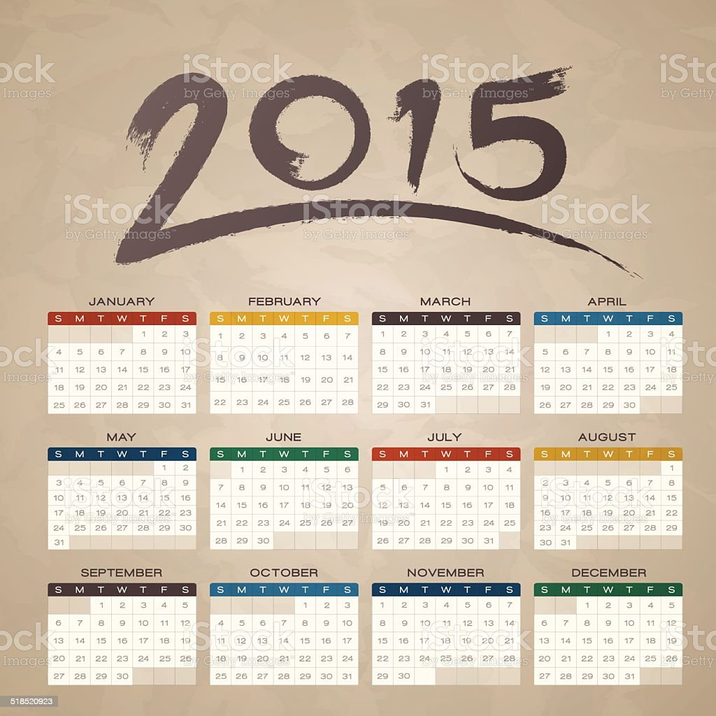 Brush Stroke 2015 Calendar vector art illustration
