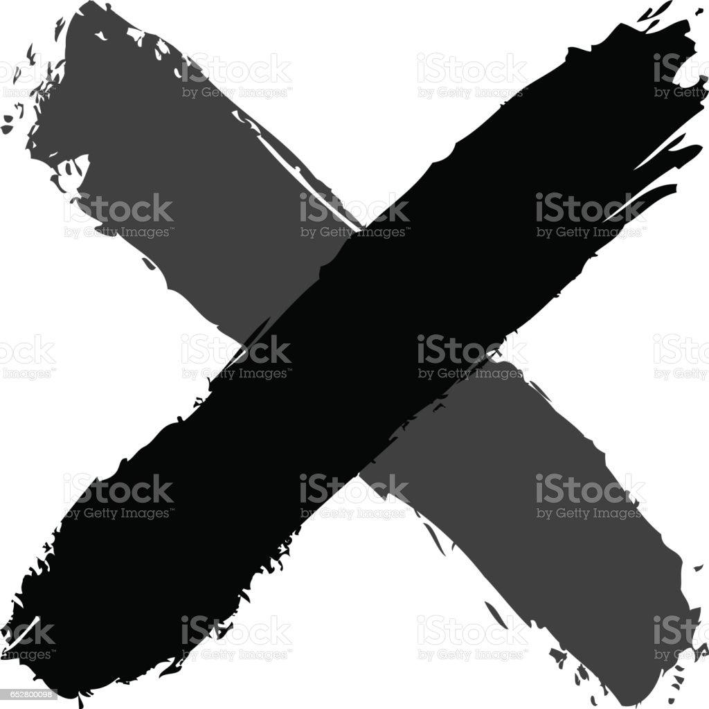 Brush stroke criss cross shape black delete sign vector art illustration