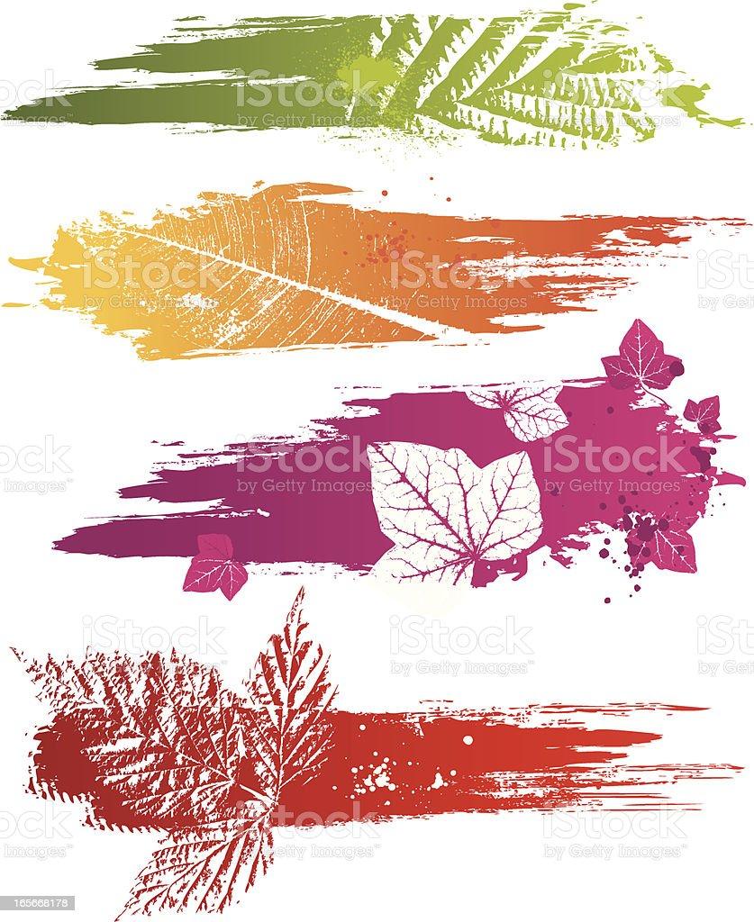 Brush Stroke & Leaf Backgrounds royalty-free stock vector art