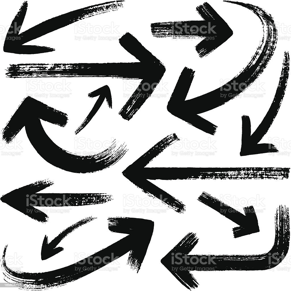 Brush stroke set of black arrows vector art illustration