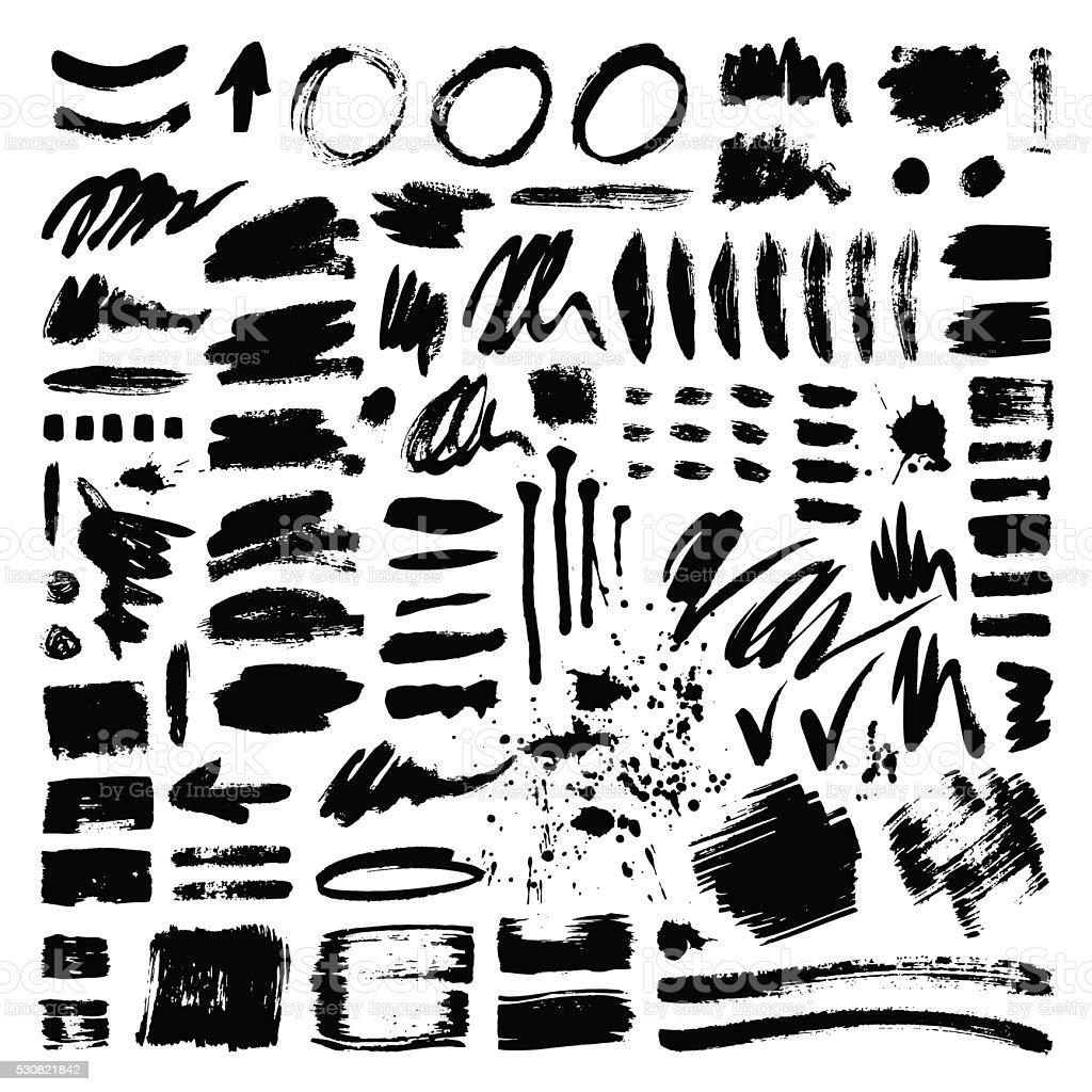 Brush stroke vector set vector art illustration