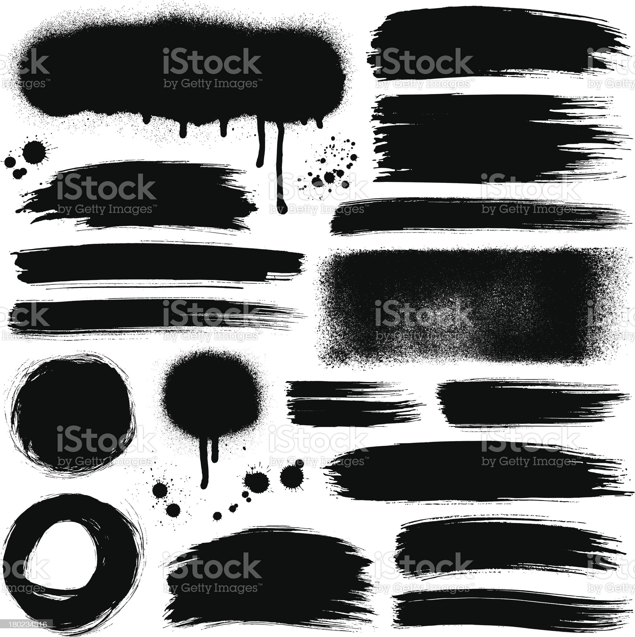 Brush strokes and paint backgrounds royalty-free stock vector art