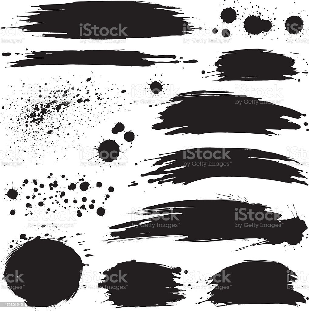 Brush strokes and splashes vector art illustration