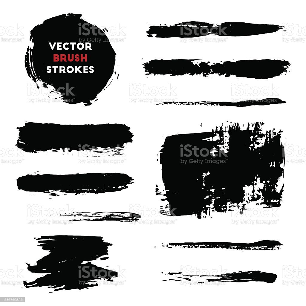 Brush strokes set vector art illustration