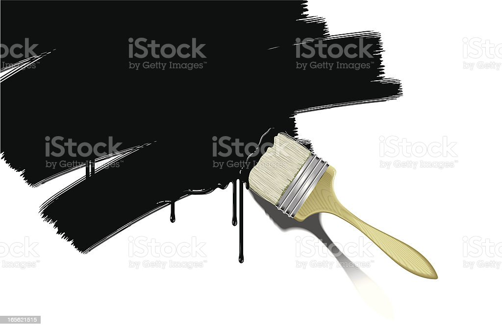 brush with black paint royalty-free stock vector art
