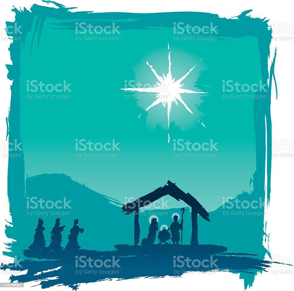 brushed jesus nativity vector art illustration