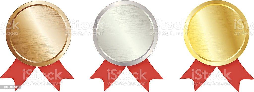 Brushed Metal Award Medal vector art illustration