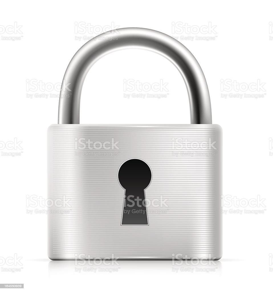 Brushed silver padlock on a white background vector art illustration