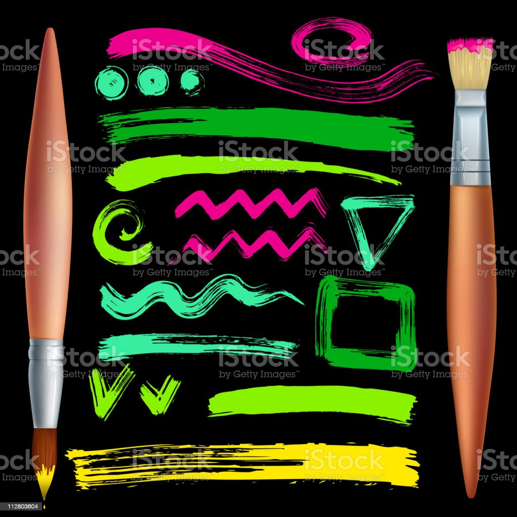 Brushes and strokes royalty-free stock vector art