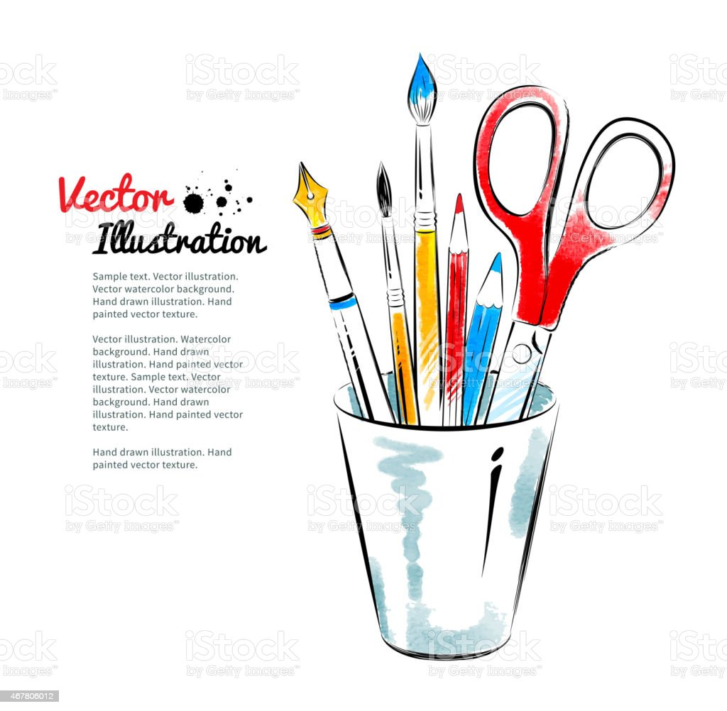 Brushes, pen, pencils and scissors in holder. vector art illustration