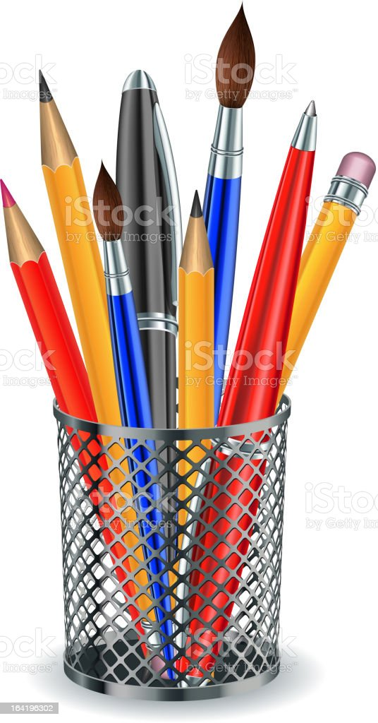 Brushes, pencils and pens in the holder. vector art illustration
