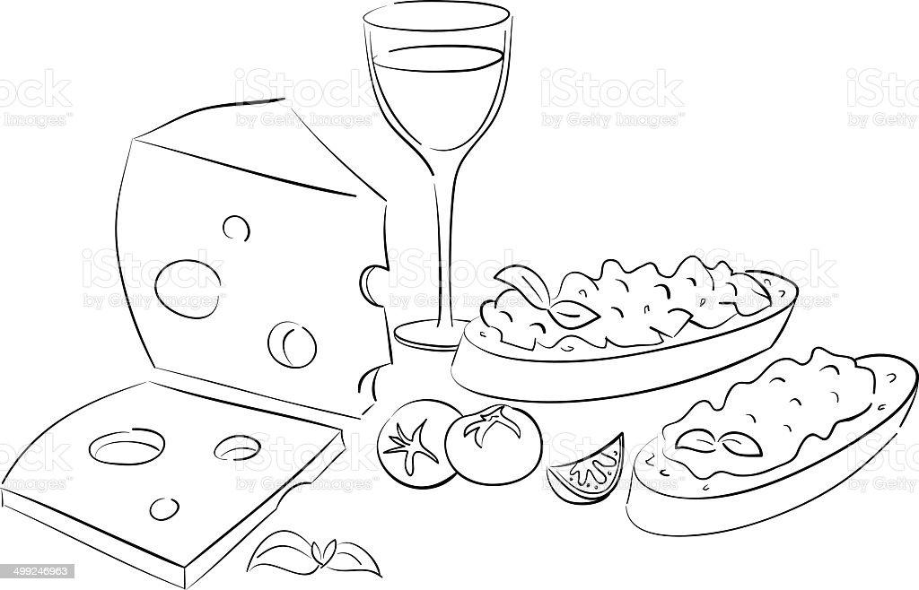 brushetta with wine royalty-free stock vector art